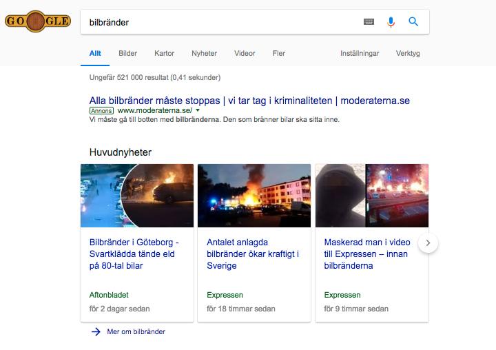 """Moderaterna har köpt upp sökordet """"bilbränder"""" på Google."""