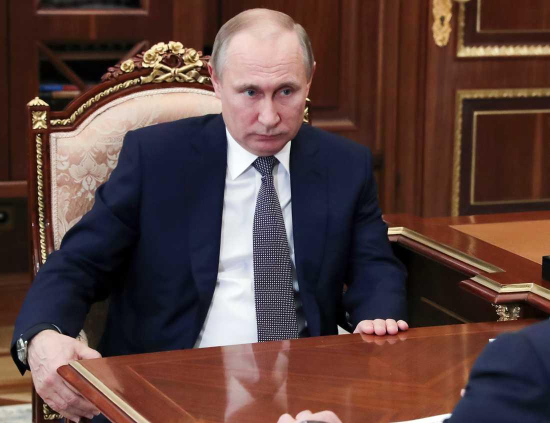 Ryske presidenten Vladimir Putin under ett möte på lördagen.