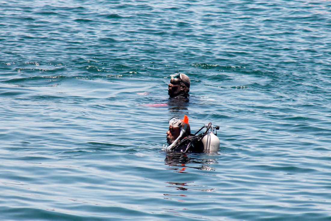 Räddningsabetare söker i vattnet kring den förlista färjan.