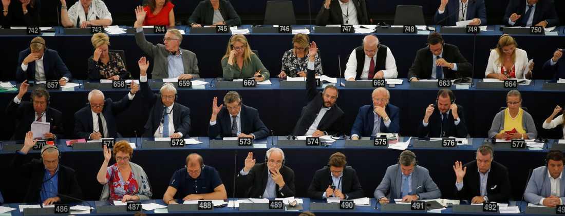Europaparlamentet under omröstningen om upphovsrätten.