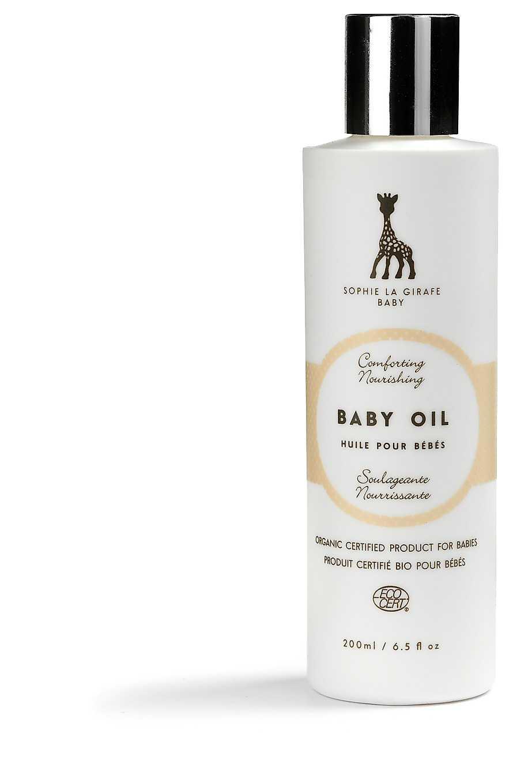 """Ekologisk olja så mild att den passar en baby. """"Baby oil"""" för 179 kronor från Sophie la girafe löser upp makeup, vårdar fnasiga nagelband och gör huden len som sammet om du häller den i badet."""