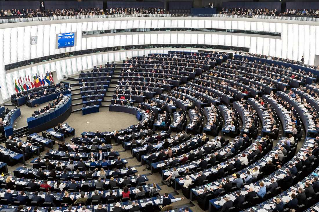 Europarlamentet under ett sammanträde 2017 vid dess officiella säte i Strasbourg. Arkivbild.