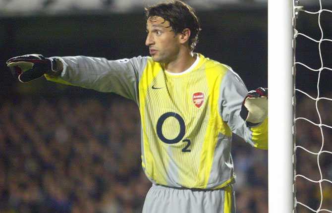 Rami Shaaban fick en del speltid i målet för Arsenal innan han drabbades av skador. Här 2002.