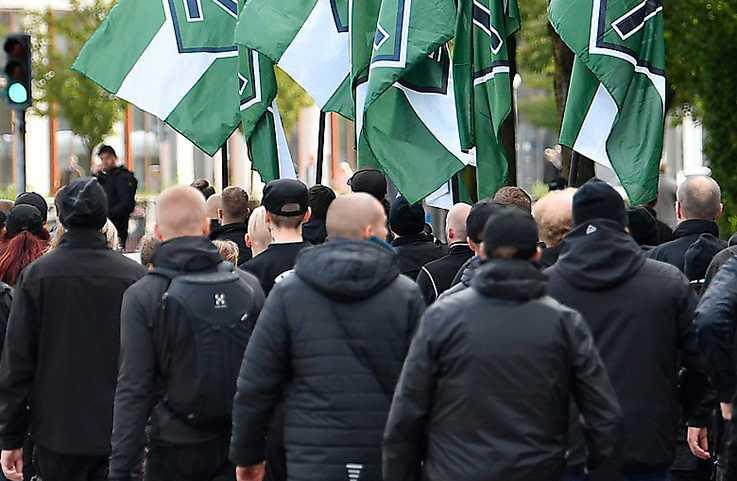 I morgon ska nazistiska Nordiska motståndsrörelsen genomföra en demonstration i anslutning till Bokmässan i Göteborg. Bilden från organisationens marsch 17 september.