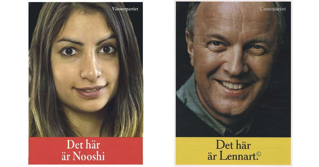 """Inför valet 1998 hade Centerpartiet en valaffisch med texten """"Det här är Lennart"""". Versionen med Nooshi har Aftonbladets grafiker Paul Wallander gjort."""
