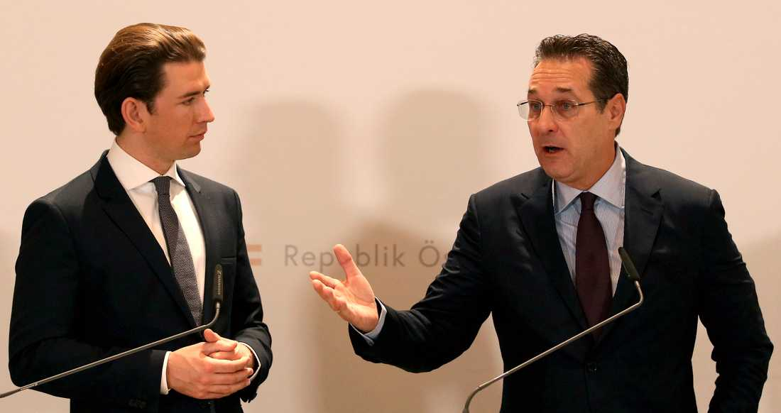 Österrikes förbundskansler Sebastian Kurz och dåvarande vicekanslern Heinz-Christian Strache innan skandalen.