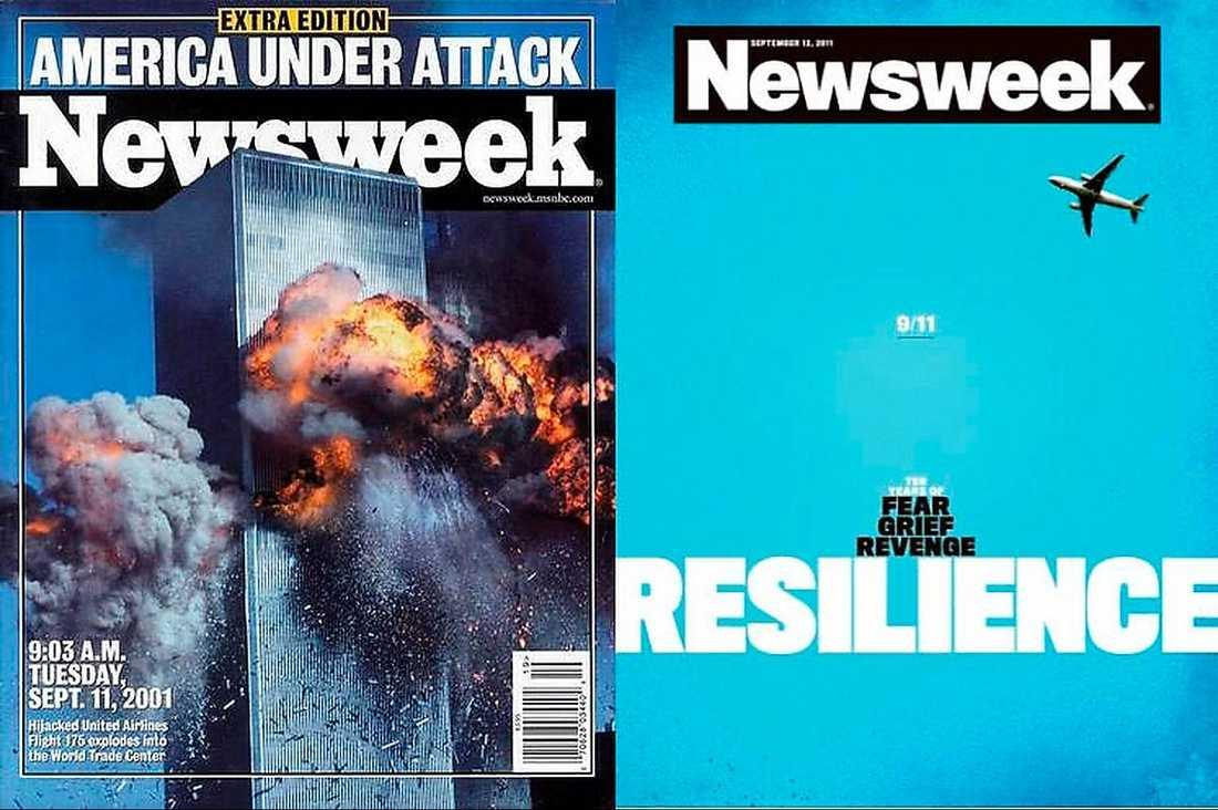 """12 september, 2011 Den 11 september 2001 förändrades USA för alltid. Newsweeks extraupplaga fångade hur folksjälen förändrats tio år efter terrorattacken i några få ord: """"Tio år av rädsla, sorg, hämnd och motståndskraft""""."""
