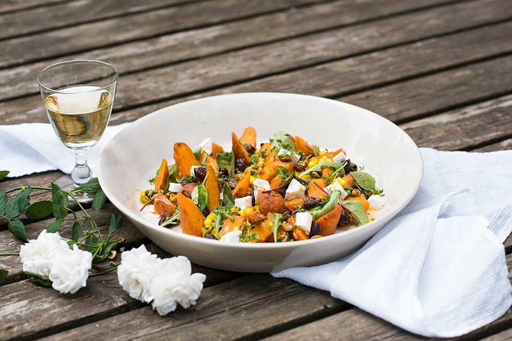 Sallad med rostade morötter