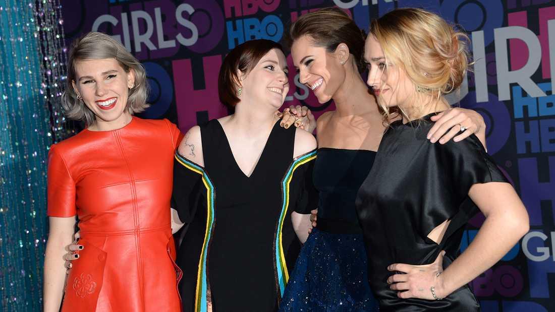 """""""Girls""""-stjärnorna Zosia Mamet, Lena Dunham, Allison Williams och Jemima Kirke."""