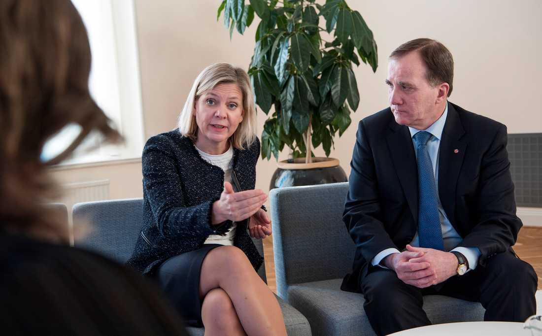 Finansminister Magdalena Andersson och statsminister Stefan Löfven.