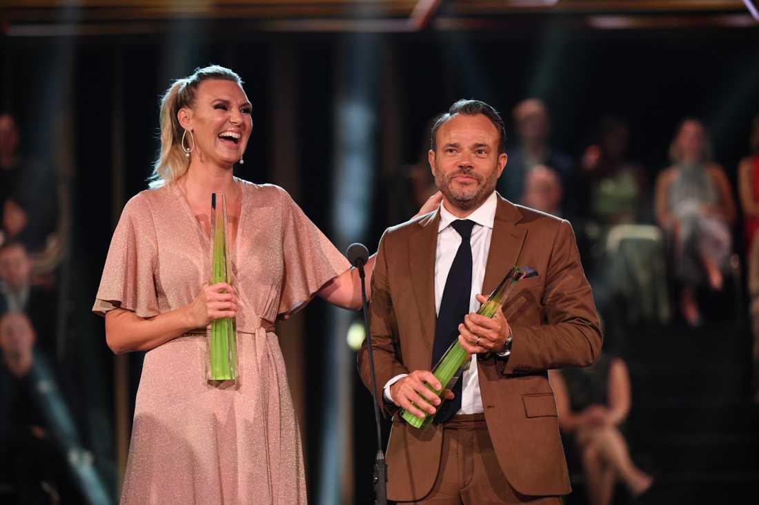 Sanna Nielsen och David Hellenius på Kristallengalan.