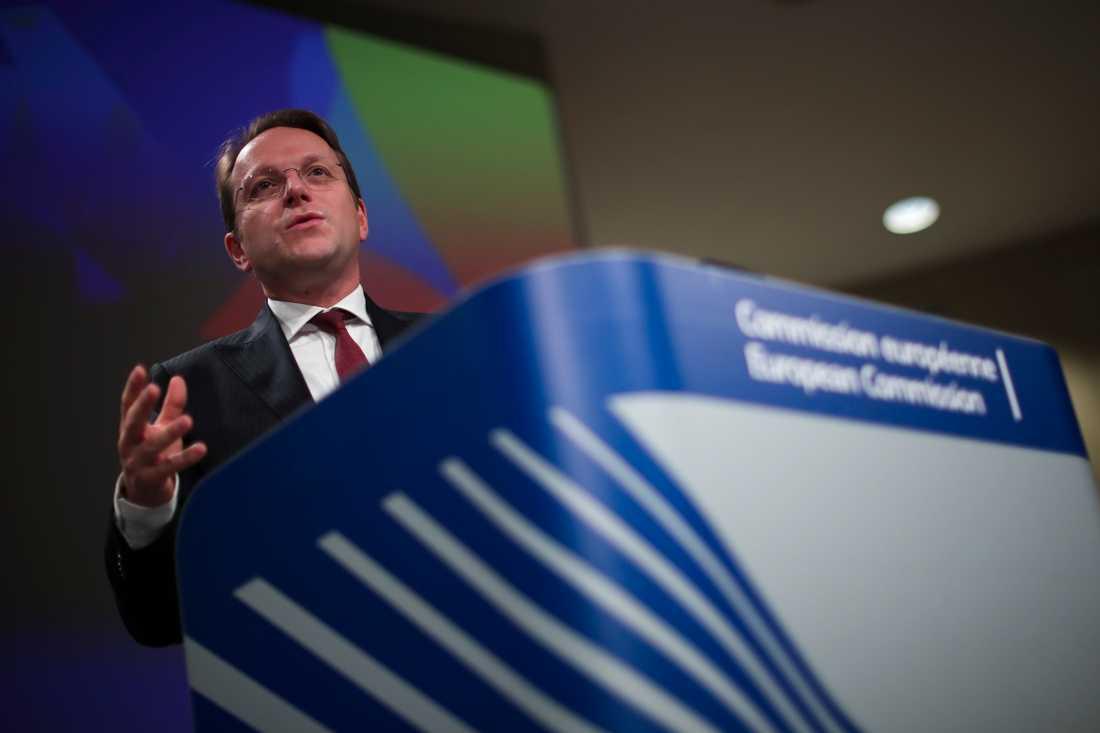 EU-kommissionens utvidgningskommissionär Olivér Várhelyi i Bryssel på onsdagen.
