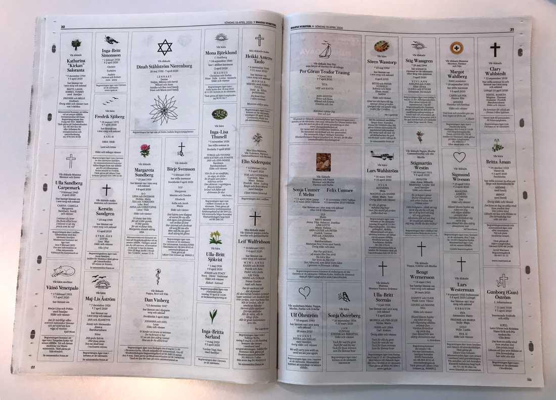 """Söndagens DN har nästan nio sidor dödsannonser. """"Ovanligt mycket"""", säger man på tidningen."""