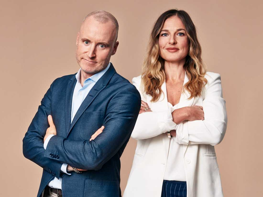 Lyxfällanprogramledarna Magnus Hedberg och Magdalena Kowalczyk.