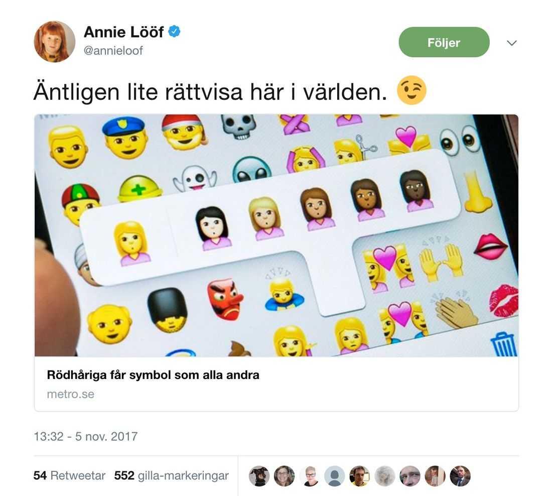 Annie Lööfs Twitter-flöde.