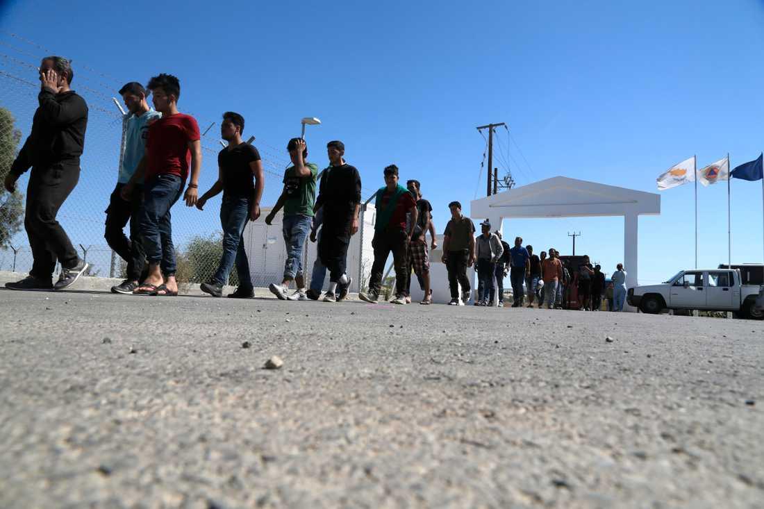Syrier vid ett flyktingläger i Kokkinotrimithia utanför Nicosia. Arkivbild från september 2017.