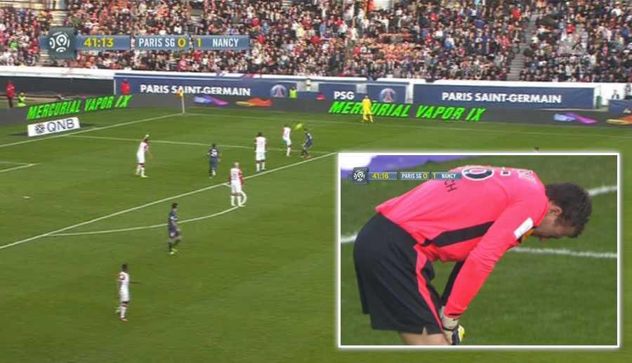 Nancy spelade ut bollen efter att målvakten Damien Gregorinis gjort sig illa efter en svettig räddning.