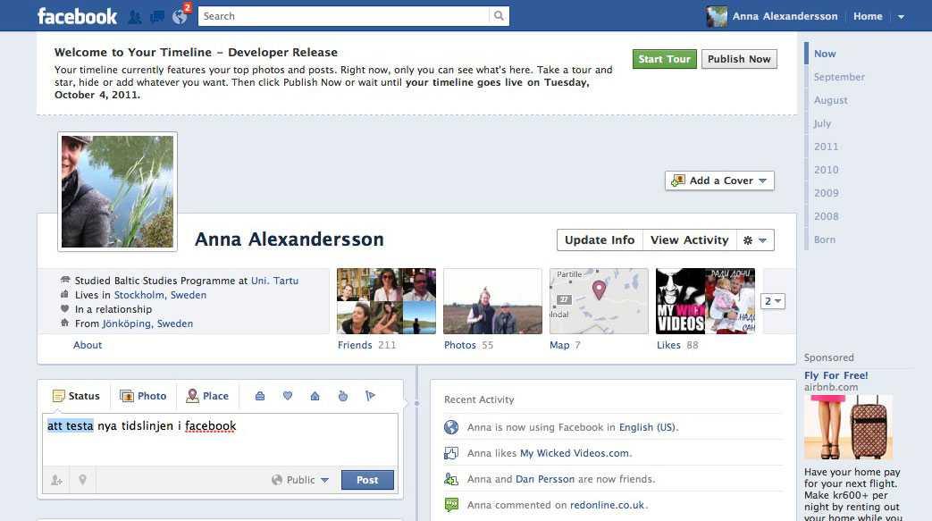 """Här får du ett rungande """"Welcome to Your Timeline - Developer Release"""" och är nästa i mål.  Källa: Mashable.com"""