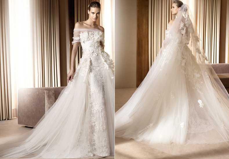 En av Valentinos många brudklänningar ur kollektionen. Det tar nästan två veckor att sy upp en klänning – om man jobbar dygnet runt.