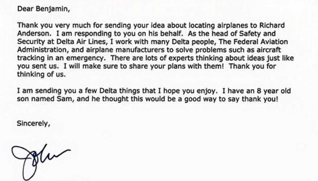 Svaret från Deltas vice ordförande John E Laughter.