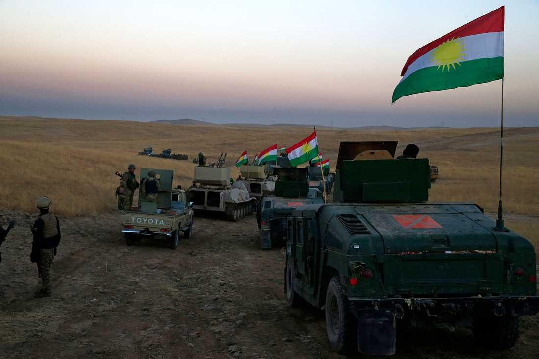 En Peshmerga-konvoj på väg mot frontlinjen i Khazer, omkring 30 kilometer öster om Mosul, på måndagsmorgonen.