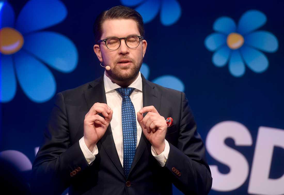 Partiledaren Jimmie Åkesson talar på partiets valkonferens