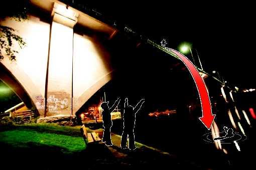 """Hetsades av vännerna Efter att OS-stjärnan hoppat stod kvinnan tvekande kvar på bron. De som stod på marken ropade """"hoppa, hoppa"""". Nu ligger hon med allvarliga skador på Karolinska sjukhuset i Stockholm."""