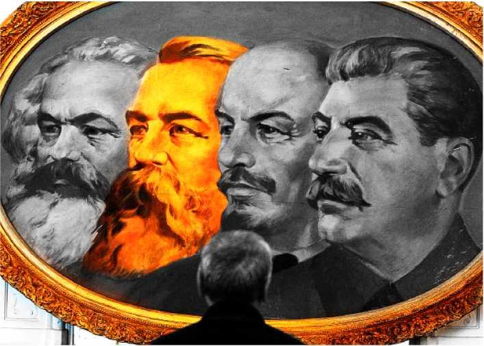 kapitalist och kommunist Friedrich Engels med kommunismens andra stora namn: Marx, Lenin och Stalin. Engels har fått skulden för vänsterns förödande talang för utrensningar, men själv varnade han för sekterism. Foto: AP (bilden manipulerad).