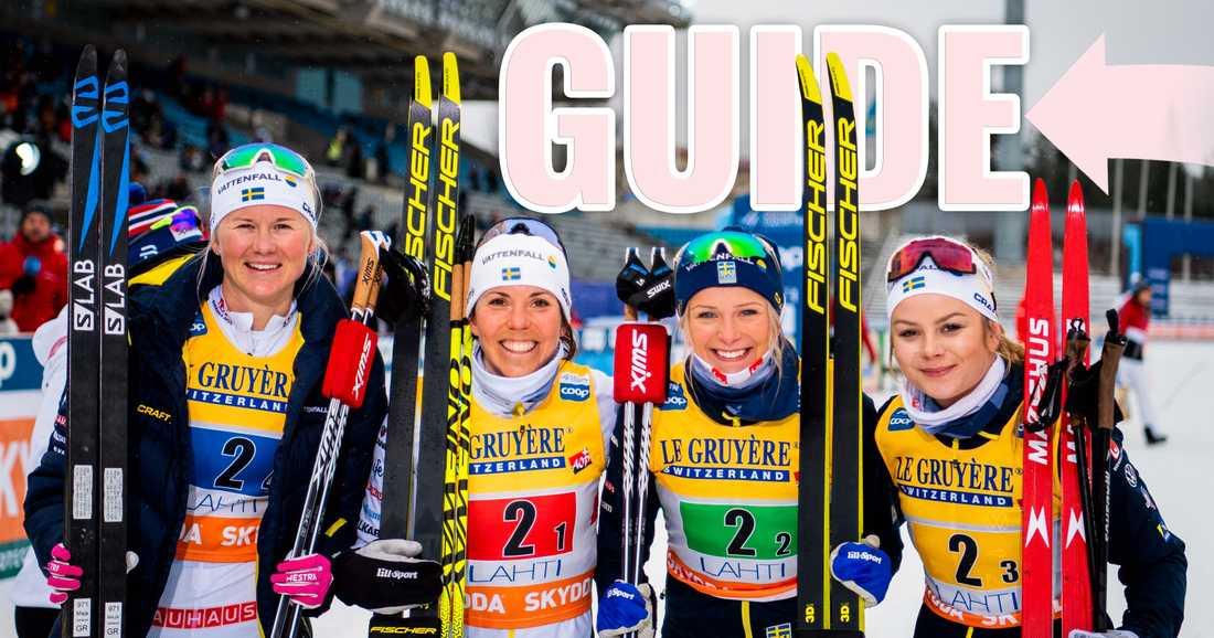 Maja Dahlqvist, Charlotte Kalla, Frida Karlsson och Rebecca Öhrn på världscupen i längdskidor i Lahti, 2020.
