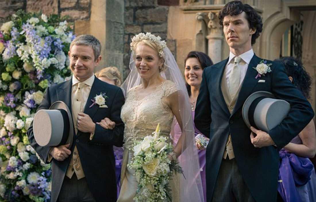 "Freeman, Abbington och Cumberbatch i ""Sherlock Holmes""."