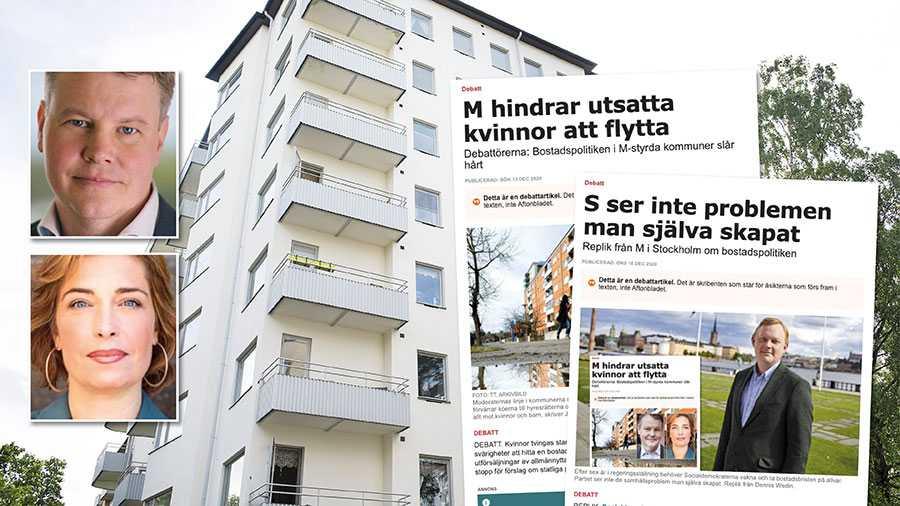 Länsförsäkringars rapport visar att kvinnor i många stockholmskommuner skulle tvingas till trångboddhet vid separation. Detta väljer Dennis Wedin, moderat bostadsborgarråd, att inte bemöta med ett enda ord i sin replik. En talande tystad. Slutreplik från Johan Löfstrand och Annika Strandhäll.