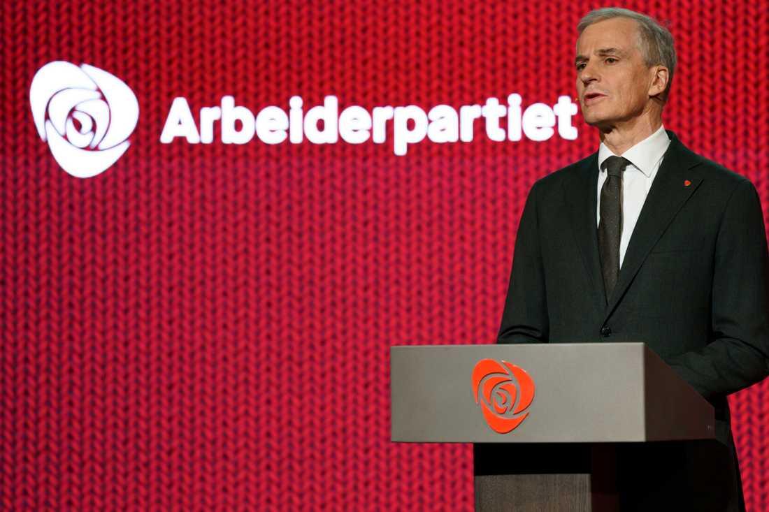 Arbeiderpartiets ledare Jonas Gahr Støre efter att partiets landsmöte på fredagen avvisat regeringens förslag till ny narkotikapolitik.