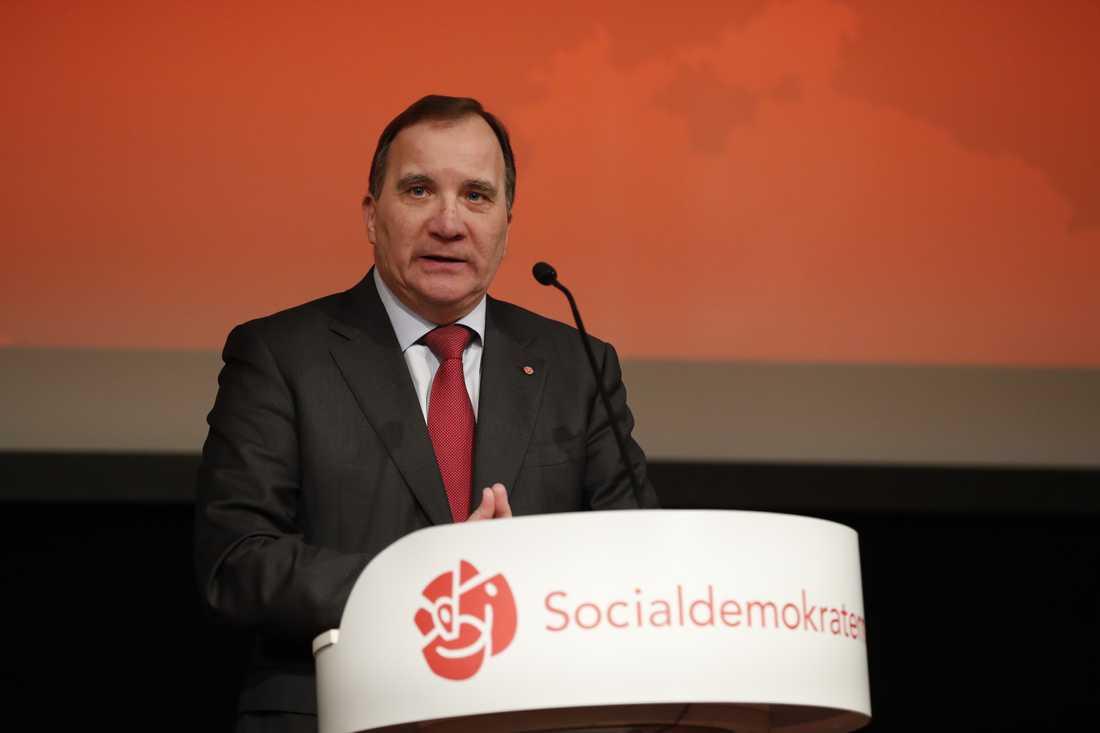 Statsminister Stefan Löfven (S) inledningstalar under Socialdemokraternas EU-valskonferens i Upplands Väsby.