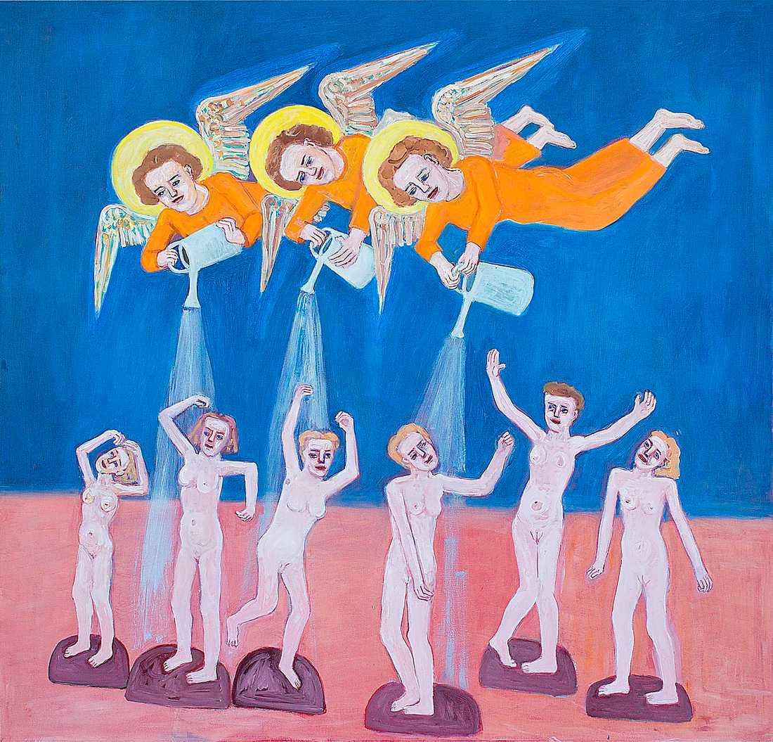 """Lena Cronqvist """"Bevattning (Giottis änglar)"""", 2010, äggoljetempera och olja på duk. Foto: Mattias Lindbäck"""
