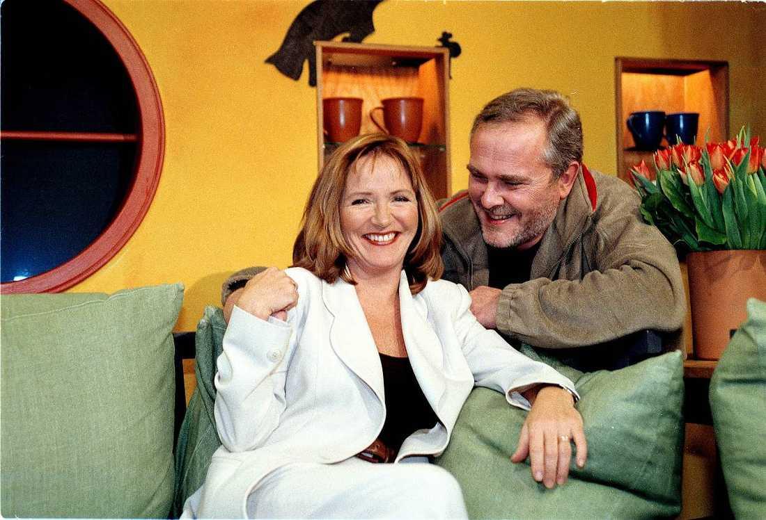 Malou von Sivers började på Nyhetsmorgon 1992, här med kollegan Bengt Magnusson.