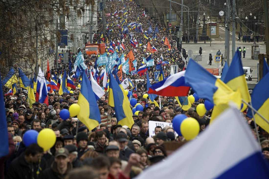 Flera demonstrationer har ägt rum i såväl Ukraina som i Ryssland inför valet. Foto
