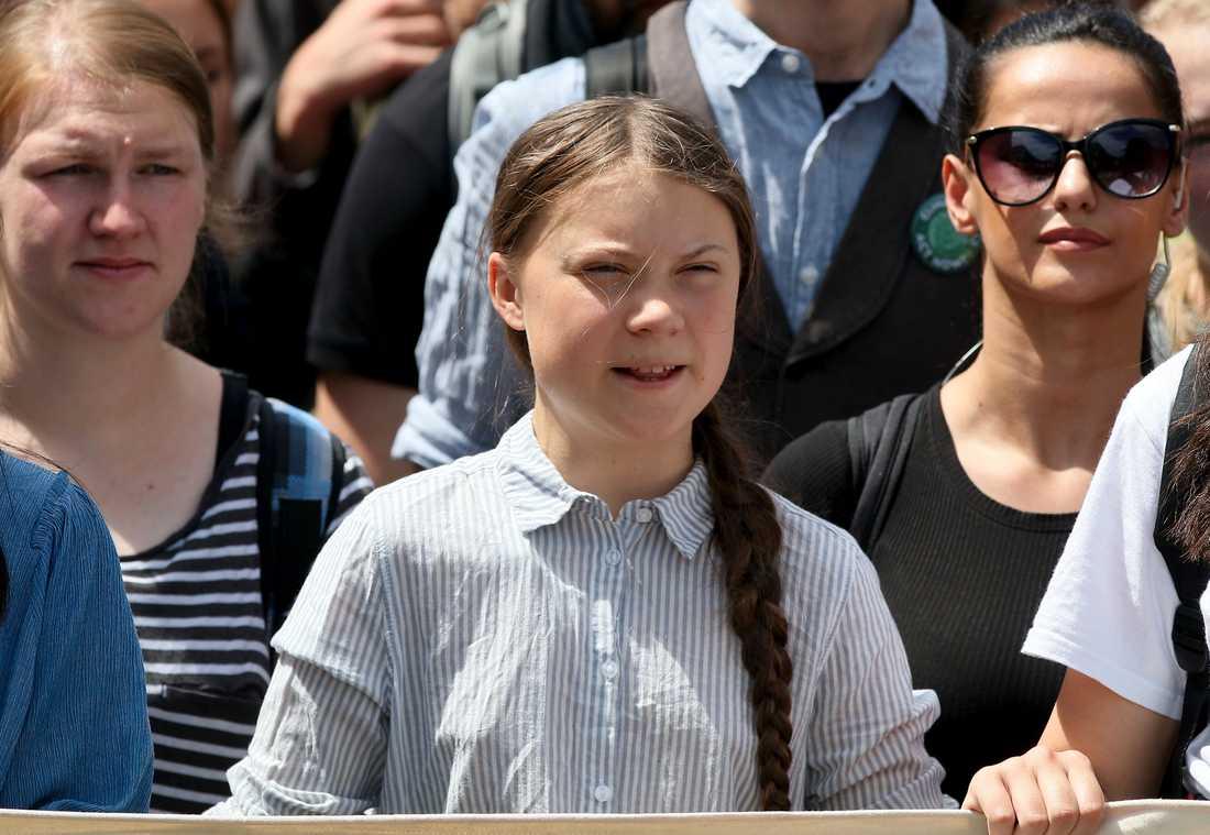 Greta Thunberg under en skolstrejk för klimatet i österrikiska Wien.