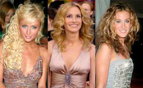 Lockigt löshår, filmstjärnelockar eller naturligt? Paris Hilton, Julia Roberts och Sarah Jessica Parker visar lockarna.