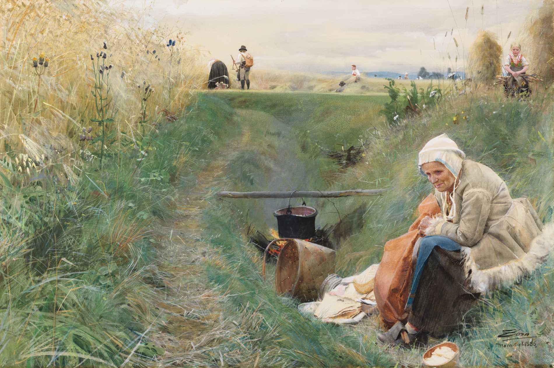"""Anders Zorn: """"Vårt dagliga bröd"""", 1886. Akvarell."""