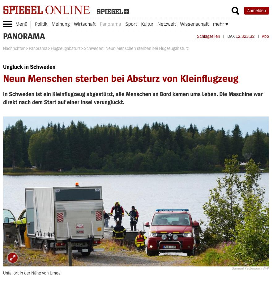 """""""Alla ombord omkom"""", skriver tyska Der Spiegel."""