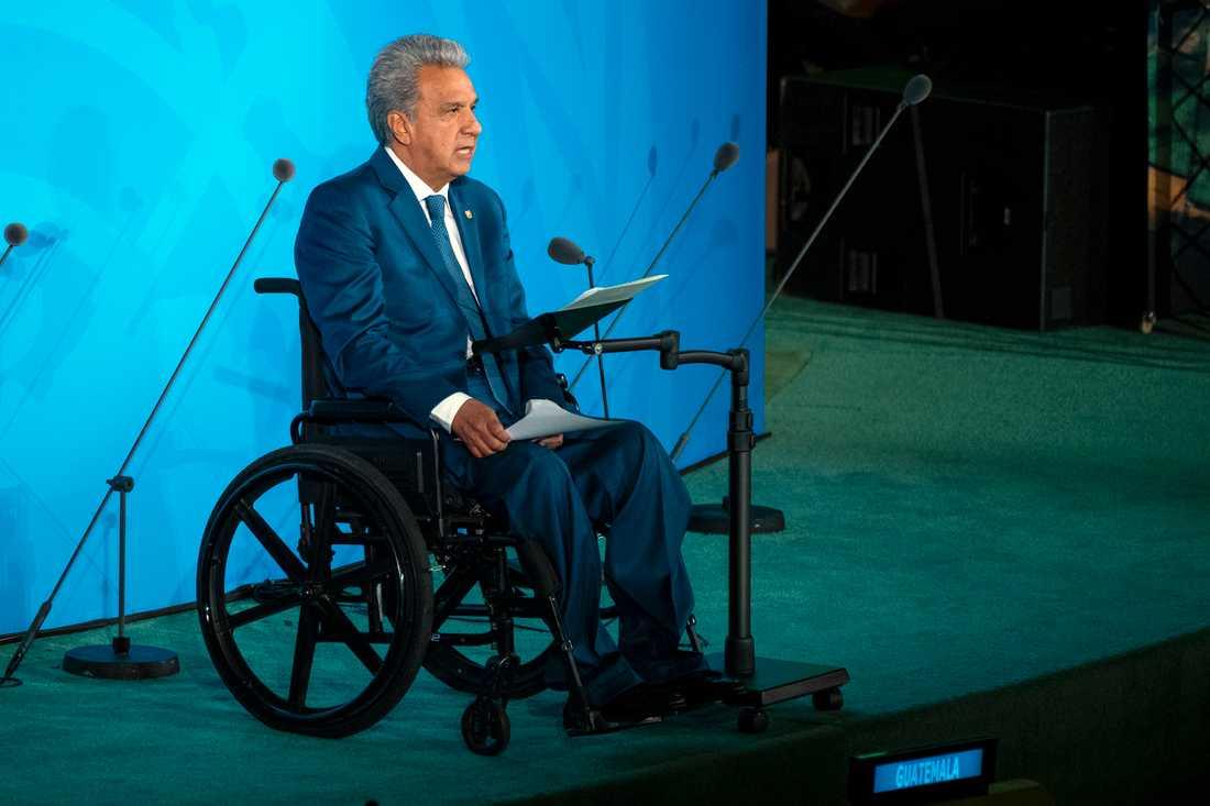Ecuadors rullstolsburne president Lenín Moreno. Bild från hans framträdande i FN i New York i september.