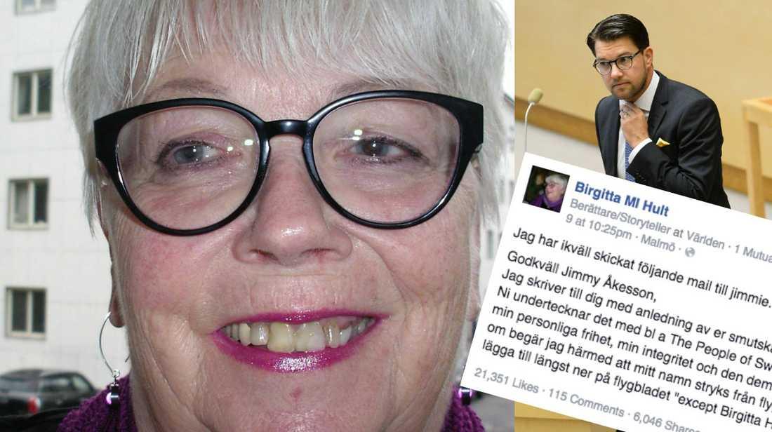 Birgittas mejl till Åkesson har gillats av tiotusentals på Facebook