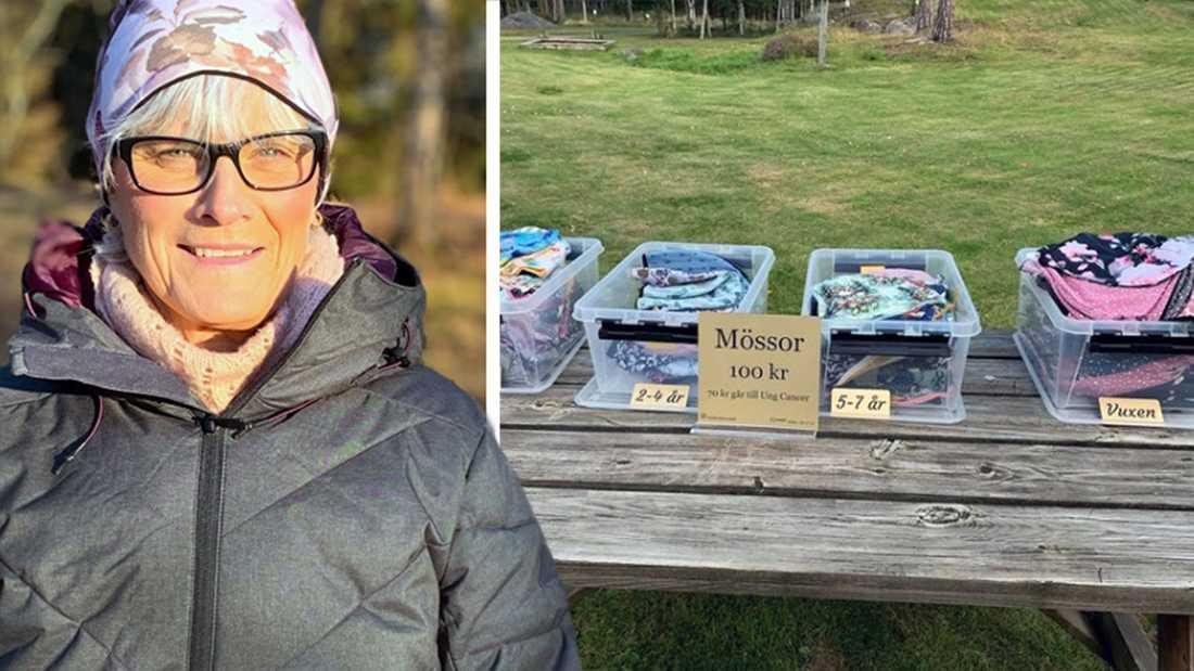 Mia Börjesson i sin egensydda mössa. Nu har hon sålt mössor och andra plagg för hundratusentals kronor. Hela överskottet går till organisationen Ung cancer.