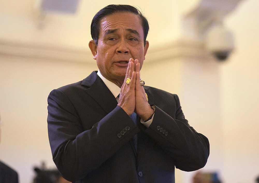 Premiärminister Prayuth Chan-ocha höll en presskonferens om läget i Bangkok i dag.