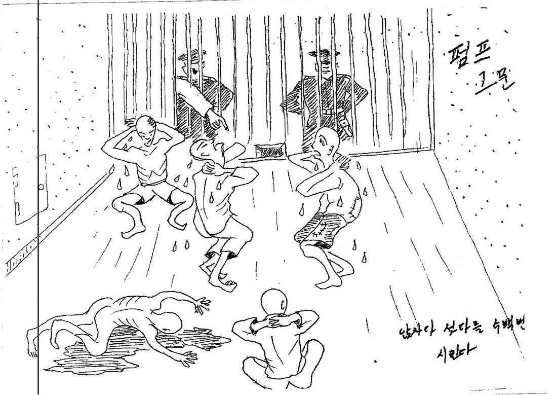 Kim Kwang-Ils teckningar efter sin tid som lägerfånge. Från FN-rapporten om Nordkoreas brott mot mänskligheten.