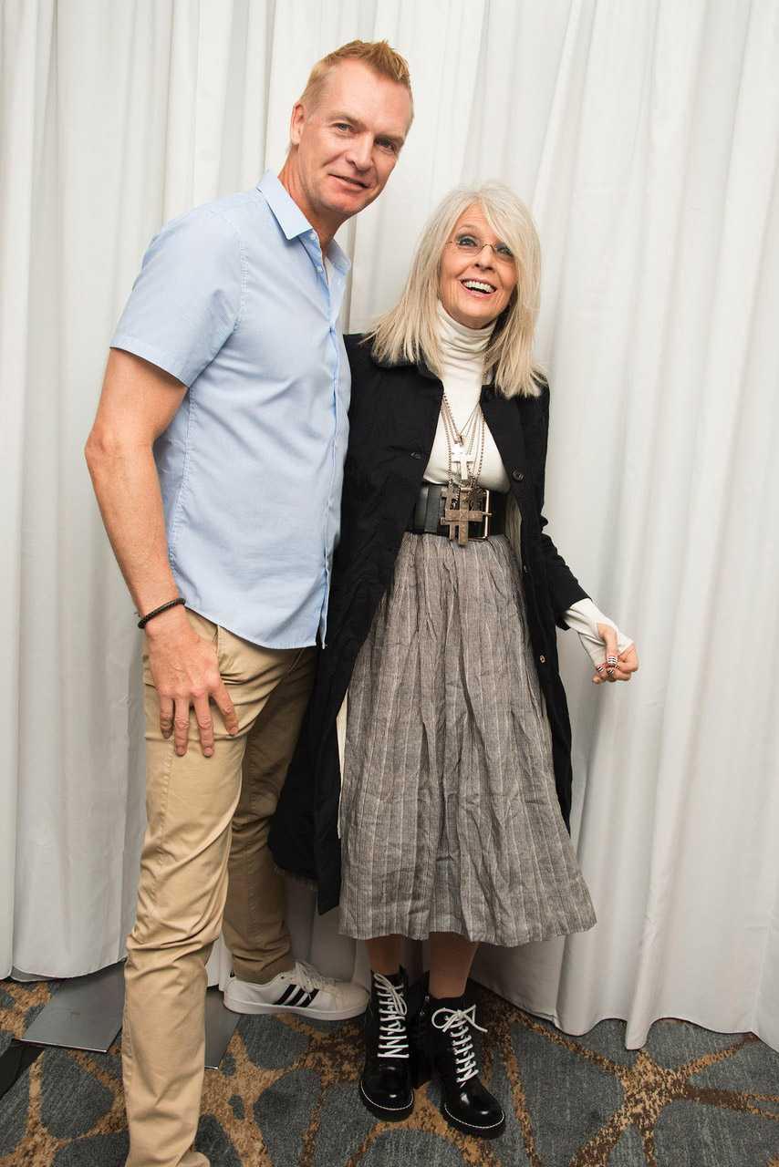 Nöjesbladets Magnus Sundholm och Diane Keaton.