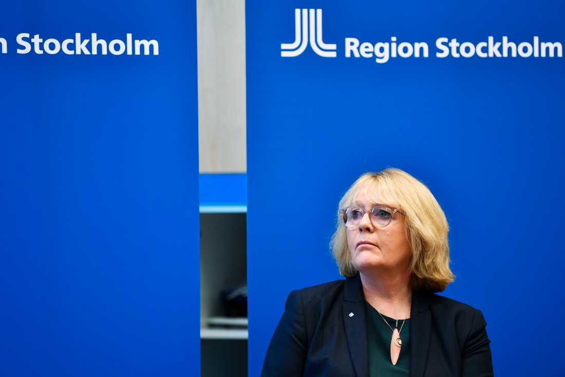 Irene Svenonius (M) under en pressträff med Region Stockholm med anledning av coronaviruset. Arkivbild.