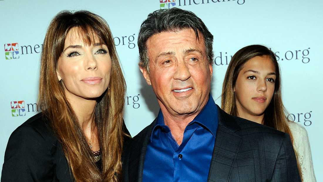 Sylvester Stallone med hustrun Jennifer Flavin och dottern Sistine Rose 2014.