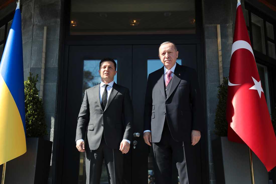 Ukrainas president Volodymyr Zelenskyj, till vänster, var i Turkiet på lördagen och besökte den turkiske presidenten Recep Tayyip Erdogan.