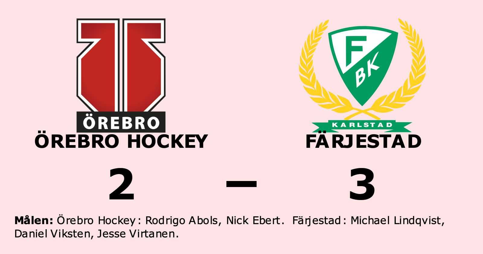 Rodrigo Abols och Nick Ebert målskyttar när Örebro Hockey förlorade
